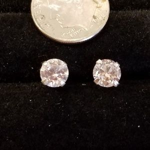 Jewelry - 6mm Round CZ in Sterling Silver Post Earrings
